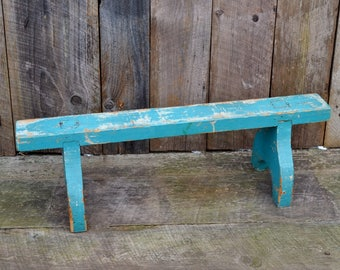Vintage Wooden Stand Turquoise Blue Aqua Chippy Shabby Paint Worn Patina Plant Stand Shelf Repurpose Display Photo Prop