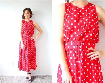 30% OFF EASTER SALE Vintage red 1950's dress // polka dot full circle dress // cherry red spotted // polka dot 50's dress // red modest dres
