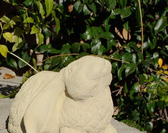 CURIOUS GARDEN BUNNY Original Stone Sculpture, Outdoor Concrete Patio Yard Lawn Accent. Hand Crafted in California