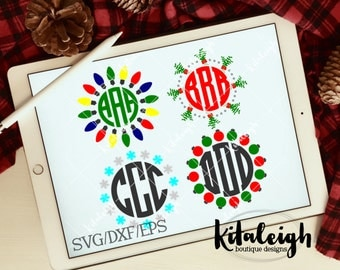 Christmas Monogram Borders INSTANT DOWNLOAD in dxf, svg, and eps for use with programs such as Silhouette Studio and Cricut Design Space
