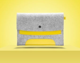 "10%DISCOUNT iPad Air 2 9,7"" / New iPad Pro 9,7"". Lemon Yellow Leather & Light Grey Wool Felt."