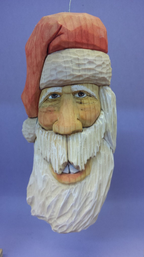Santa Claus wood carving wall hanging hand made Christmas gift for him gift for her OOAK Holiday decorations hand painted collectible gifts