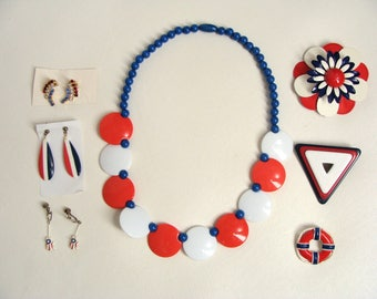 vintage Patriotic Jewelry. 7pc Red White and Blue Jewellery. Lot 70s 80s Plastic Necklace. 3 pr Earrings. 3 Brooch Pins. KRAMER R.N.K.