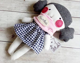 "Personalized rag doll Choose dress color Name banner Stuffed toy Stuffed doll Plushie Softie Handmade Pale pink scarf 9.8"" 25 cm"