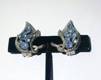 Earrings Blue Rhinestones Silver Tone Settings Clip on Vintage Wedding Jewelry Jewellery Accessories Gift Guide Women