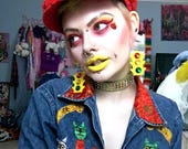 Colorful TRAFFIC LIGHT Acrylic Earrings with Rhinestone Earring Wire / Wrap Around Hooks for stretched or pierced ears
