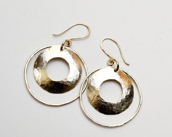 Sterling Silver Earrings Domed Disc Hoops
