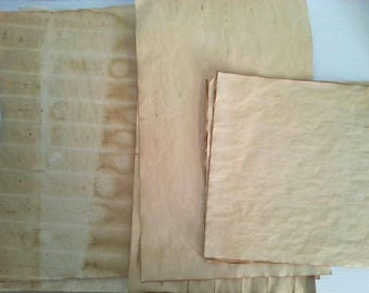 10 large pieces of coffee dyed papers for crafts | hand dyed papers | coffee stained papers | papers for art journals | collage papers