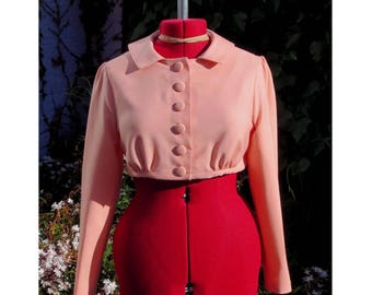 regency spencer in lightweight wool/viscose salmon pink with cream satin lining UK seller