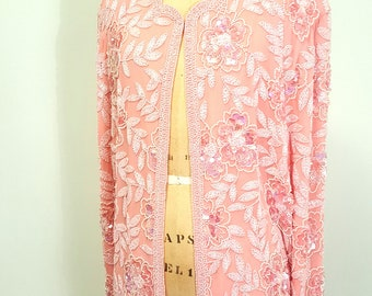 SALE Vintage 1980s Beaded Pink Silk Jacket Cardigan. Oleg Cassini. Med to Large