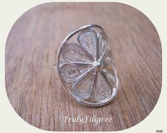 Handmade Sterling Silver Filigree Flower Ring Size 6
