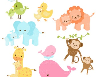 Pastel Mom and Baby Animals Clipart Set - clip art set of cute animals, mom, baby - personal use, small commercial use, instant download