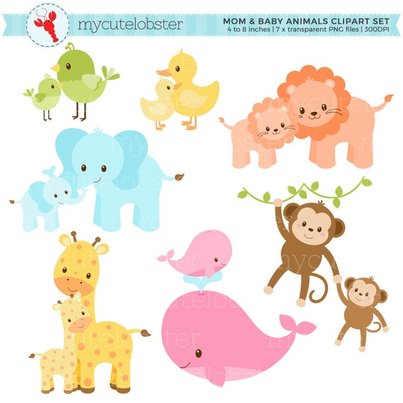 Pastel Mom and Baby Animals Clipart Set clip art set of cute