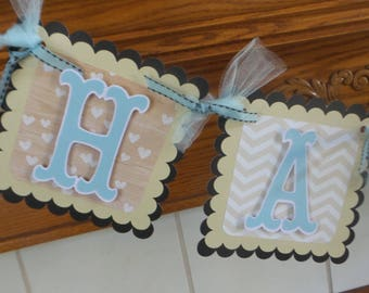 Happy Anniversary Banner, Tans, blue and black Anniversary banner, Anniversary Banner, Matching Tissue Poms Available