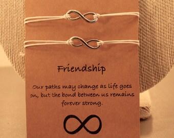Infinity Friendship Bracelets: Set of 2 Adjustable Infinity Friendship Bracelets, Wish Jewelry, Best Friends, Friendship Bracelets