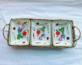 Vintage ESD Lefton Japan Relish or Dip Tray with Basket   Box w