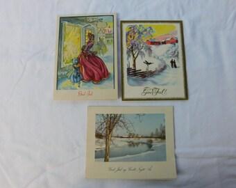 Vintage Mid Century Greeting Cards God Jul Norwegian Christmas Cards  Box K