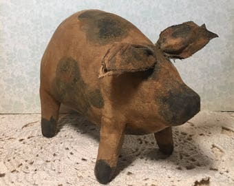 primitive standing pig - primitive country decor - rustic decor - farm decor - pig lovers gift - country primitive decor - farmhouse decor