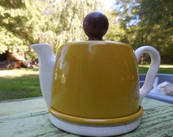 Vintage 1950s to 1960s Ceramic Tiny Teapot Handle Spout Yellow/Mustard Colored Aluminum Metal WoodTop/Lid Retro Kitchen Miniature