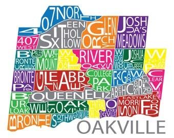 Typographic Map of Oakville, Ontario