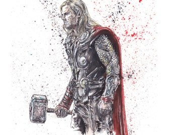 "Thor ""Son Of Odin"" Original 9x12 Ink and Watercolor"