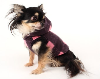 Dog Clothes Pink and Black Buffalo Plaid Cute and Trendy fleece dog hoodie