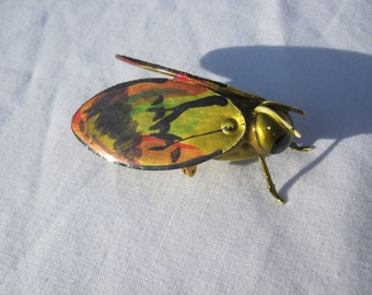 Colorful Golden Bug Brooch