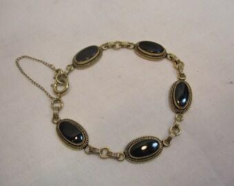 Victorian Revival Gold Filled Onyx Bracelet