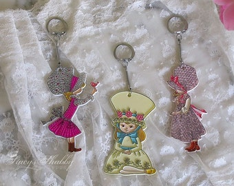 3 Adorable Vintage HOLLY HOBBIE Style KEY Chains, Retro, 1970's