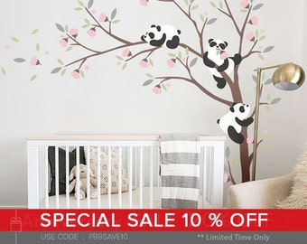 Pandas and Tree Wall Decal