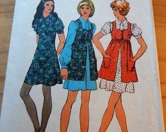 "Simplicity 9800 Minidress and Smock Pattern 1971 Sz 12 Bust 34; Waist 25.5""; Hip 36"