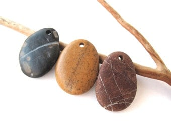 Rrock Pendants Beads Stone Beads Top Drilled Beach Stones Oval Rock Beads Mediterranean Diy Jewelry Stone Pendants CHILLY MIX 33-35 mm