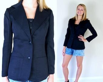 Sale vtg 70s BLACK skinny fit VEST+JACKET xs/s matching set hippie boho retro blazer indie fitted disco