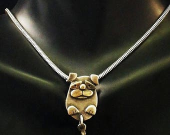 Sterling Silver Pug Necklace - With Moving Tail