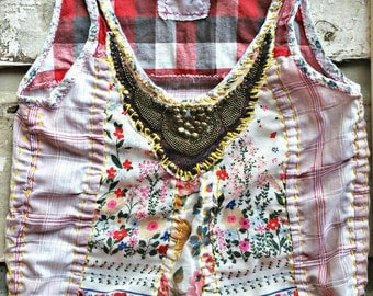 Bohemian top, floral top, boho chic top, womens tank, beaded top, festival top, beaded gypsy top, vintage top, bohemian floral, hippie tank