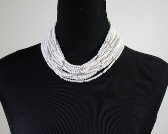 Vintage Beaded 16 Strand Necklace / Choker ~ White & Gold Beads ~ JAPAN ~ MOD 60's Retro Bridal Estate Jewelry ~ Birthday Gift For Her