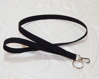 Lanyard - Id Badge Holder - Id Holder - Key Lanyard - Teacher Lanyard - Fabric Lanyard - Keychain - Solid Black