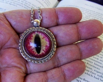 Dragon Eye Pendant (N640) Necklace, Red and Gold Sparkle, Hand Painted Glass Eye, Silver Hardware