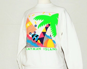 Spring break Cayman Islands sweatshirt / 80s 90s bright graphic beach vacation travel souvenir / made in USA Fruit of the Loom / size medium