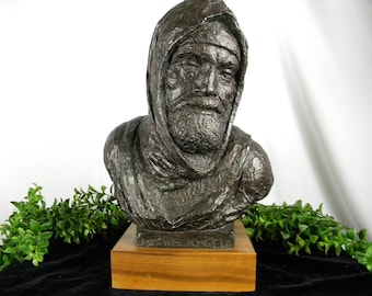 Michelangelo Bust / Ceramic Bronze Color Statue Bust / Sculpture of Michelangelo / Wood base /  Historical Figure / Collectible Art