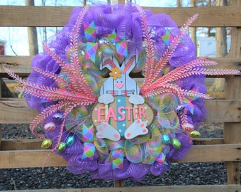 Purple Bunny Easter Wreath, Spring Wreath, Deco Mesh Wreath, Front Door Wreath, Easter Decoration, Easter Egg Wreath, Purple Door Wreath