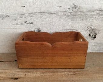 Wood box with handles. Small wood box caddy storage.