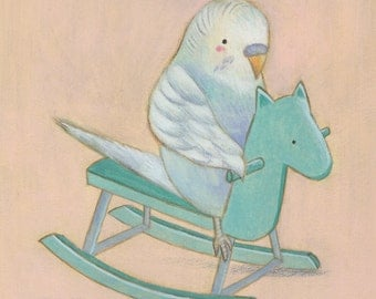 You Rock! Budgie on a Rocking Horse Print 8x10 by Megumi Lemons