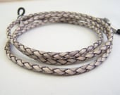 Gray Eyeglass Cord, 3mm Leather Bolo Cord, Custom Made 24-36 inchs, Unisex Eyeglass Chain
