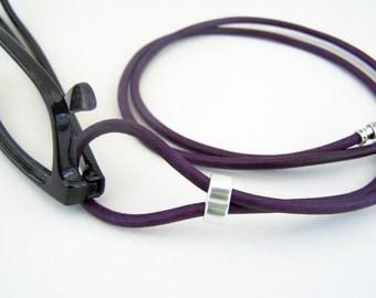 Dark Purple, Eyeglass Loop, Teal or Red, Eyeglasses Holder, Eyeglass Necklace, Leather Lanyard, by Eyewearglamour