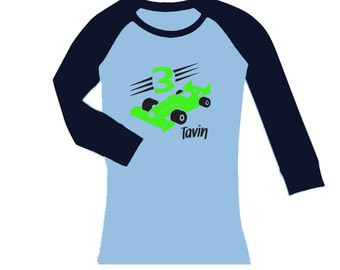 Personalized Race Car Birthday Shirt -  cropped/long sleeve fitted raglan shirt - any age and name - pick your colors!