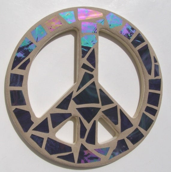 Peace Sign Wall Art Purple Mosaic Peace Sign By