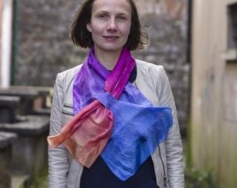 skinny scarf, silk scarf, narrow silk scarf, felt scarf, felted scarf, silk and felt scarf, kate ramsey, gift scarf, nuno felt scarf, short