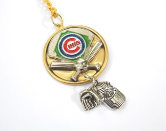 Chicago Cubs Baseball Necklace --Wrigley Field