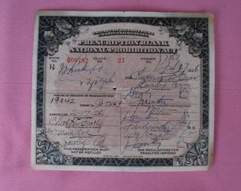 Vintage Prohibition Whiskey Prescription Pharmacy Medical Alcohol Rx 2/17/1926 Hawley Pa Speakeasy Drug Store Bar